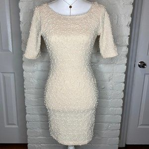 Forever 21 3/4 Sleeves Open Scoop In Back Dress